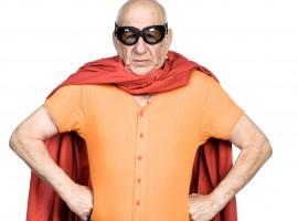 Funny superhero posing