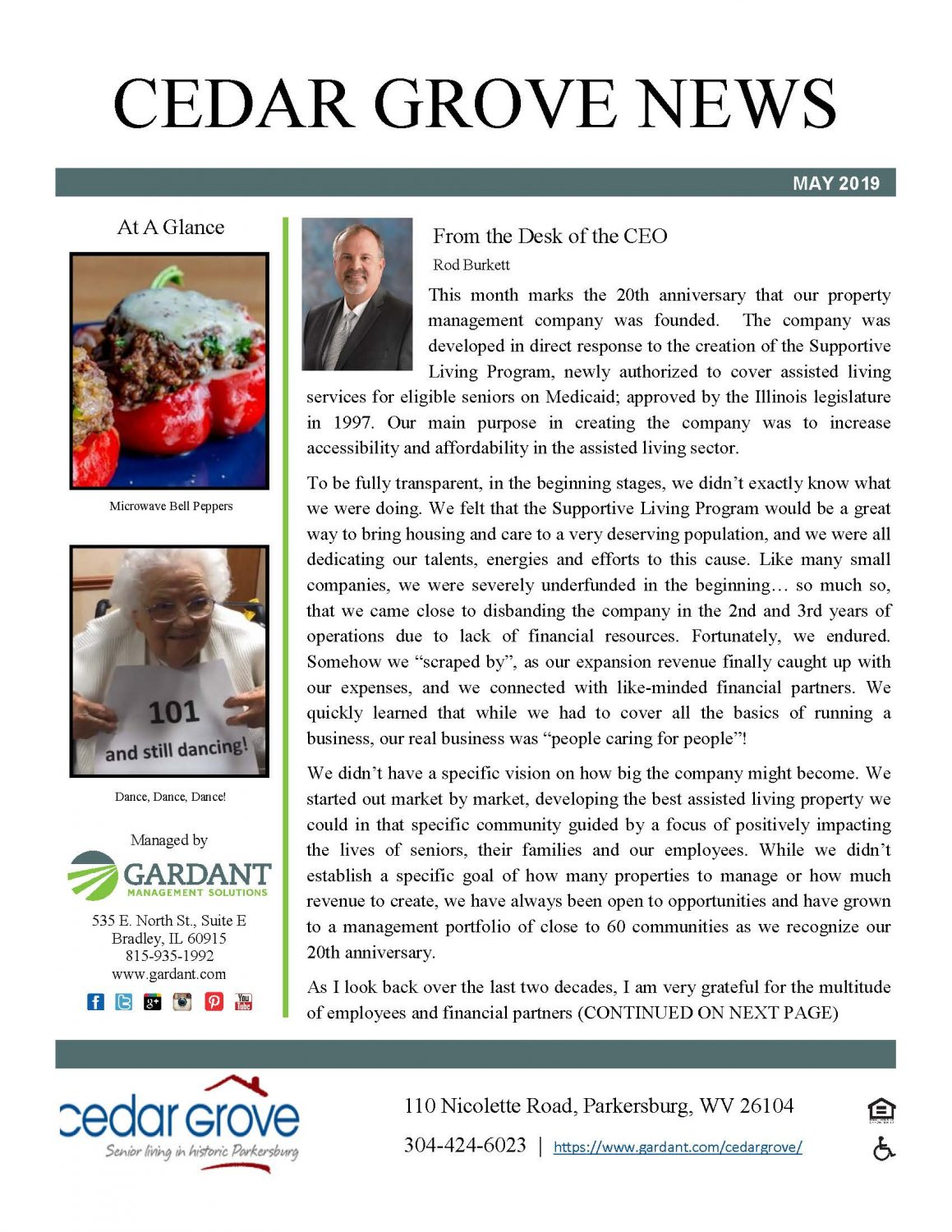 Cedar Grove News – May 2019