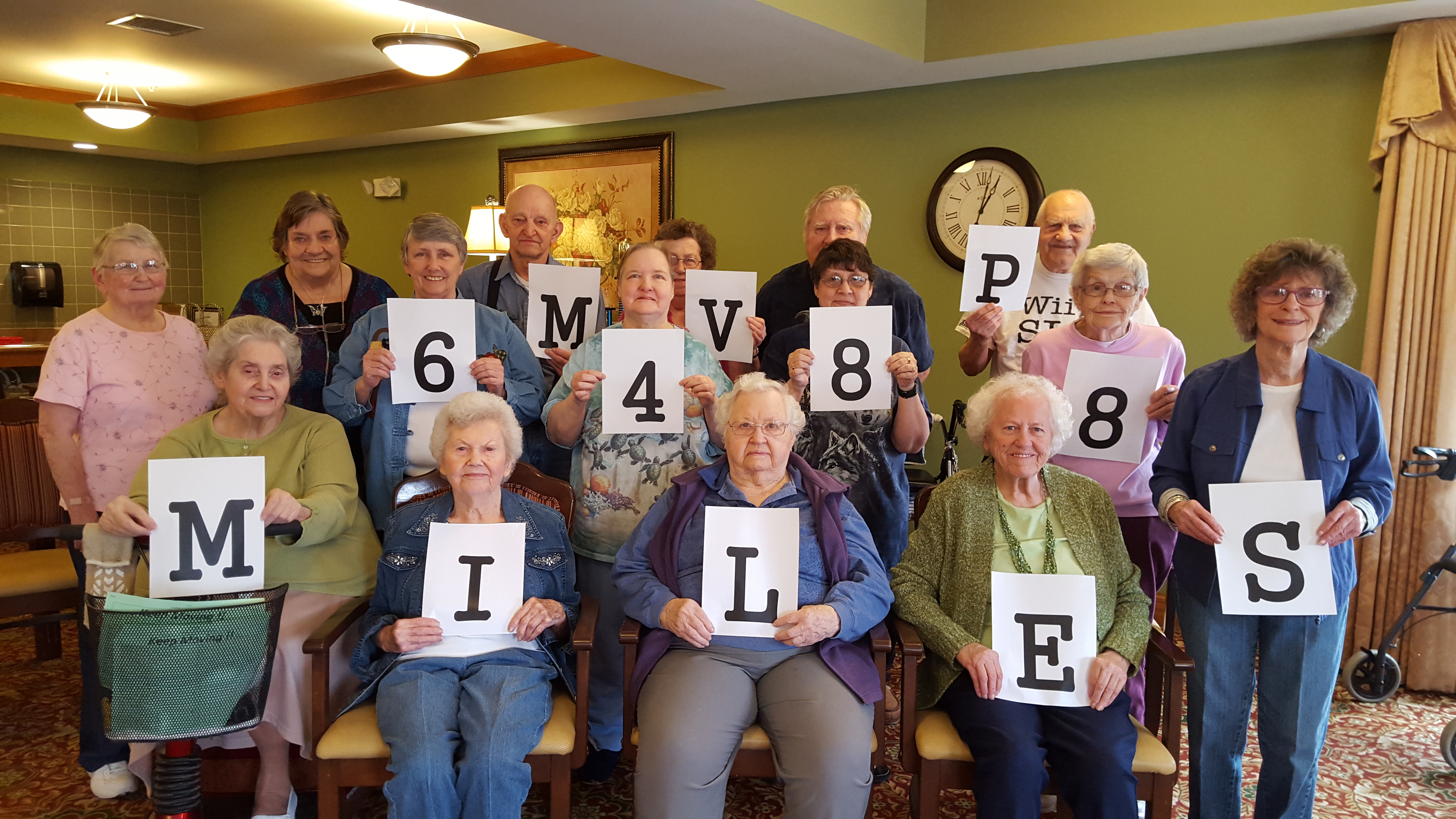 The residents at our affordable assisted living community in Charleston, Illinois logged nearly 6,500 miles -- close to 10 percent of the total miles earned -- during the Keep Moving Challenge.