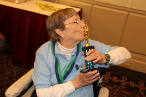 Vonnie Heagy, a bowler from Heritage Woods of Bolingbrook, celebrates after receiving the most valuable player award.